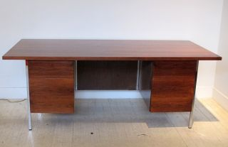 A Walnut Double Pedestal Executive Desk By Florence Knoll photo