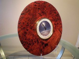 Large Australian Red Gum Burl Wood Turned Wall Tide Clock photo