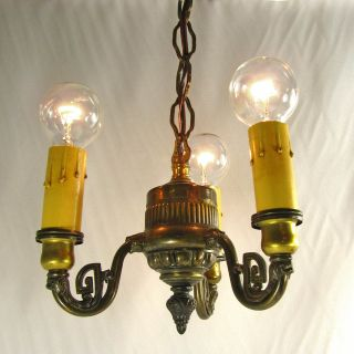 Chandelier Vintage Pendant Cast Metal Antique Brass Wash Ceiling Hanging Fixture photo
