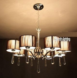 8 Light Italian Style Round Brown Silk Thread Lampshade Crystal Chandelier Lamp photo