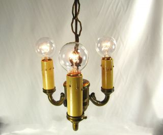 Chandelier Vintage Pendant Deco Antique Brass Wash Ceiling Hanging Fixture 1930 photo
