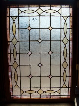 Textured Glass Window W/ Stained Glass Diamonds Landing Window (sg 1254) photo