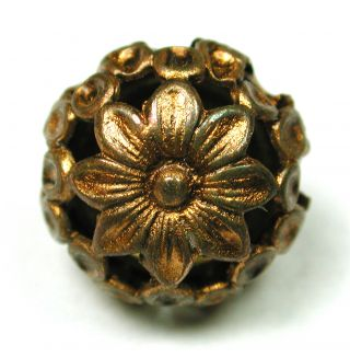 Antique Brass Button Pierced Ball W/ Flower Design photo
