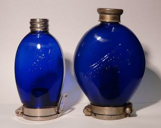 Two Different Dr Dettweiler Medical Spittoons Sputum Flask Cobalt Blue 1910s photo