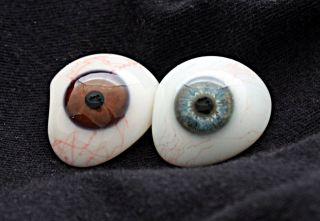 2 Prosthetic Human Eyes Finests German Jena Glass Jenaer Glas Ca.  1936 Civil War photo