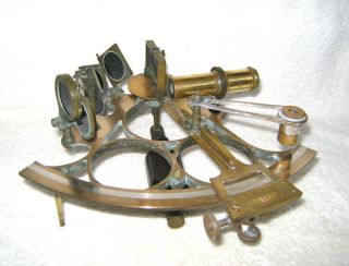 19c Solid Brass Sextant No.  1425 By T.  J.  Williams,  Cardiff - Unboxed/as Found photo