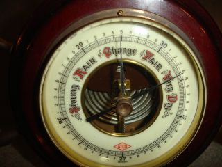 Old Vtg Antique Atco Germany Barometer Mahogany Ships Wheel Design With Stand photo