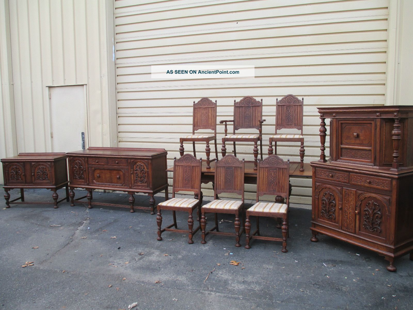 51421 Antique Oak Refactory Dining Room Set China Table Buffet Chair S Server 1900-1950 photo