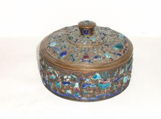 Rare 19th Century Chinese Bronze Cloisonne Repousse Enamel Old Bowl Jar Box photo