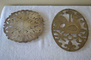 Vintage Trivets Wallace 7333 Expand - Footed Silverplated & Italy Ep Zinc Rooster photo