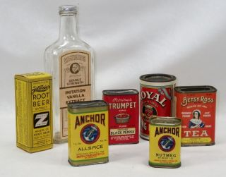 7 Antique & Vintage Food Spice Extract Tins & Bottles Betsy Ross Trumpet Anchor photo