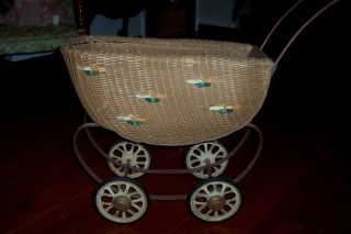 Antique/vintage C /1920 ' S South Bend Toy Mfg Co.  Brown Wicker Doll Buggy photo