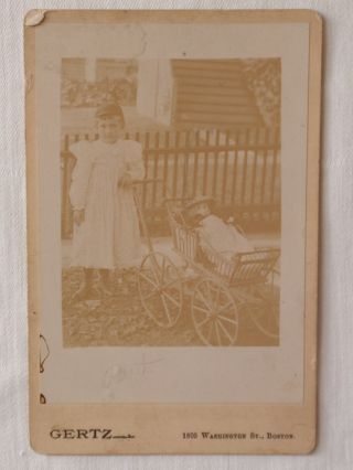 Vintage 1800 ' S Cabinet Photo Girl & Antique Doll In Wicker Baby Carriage Buggie photo