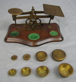Antique Brass & Wood Postage Scale With Weights photo