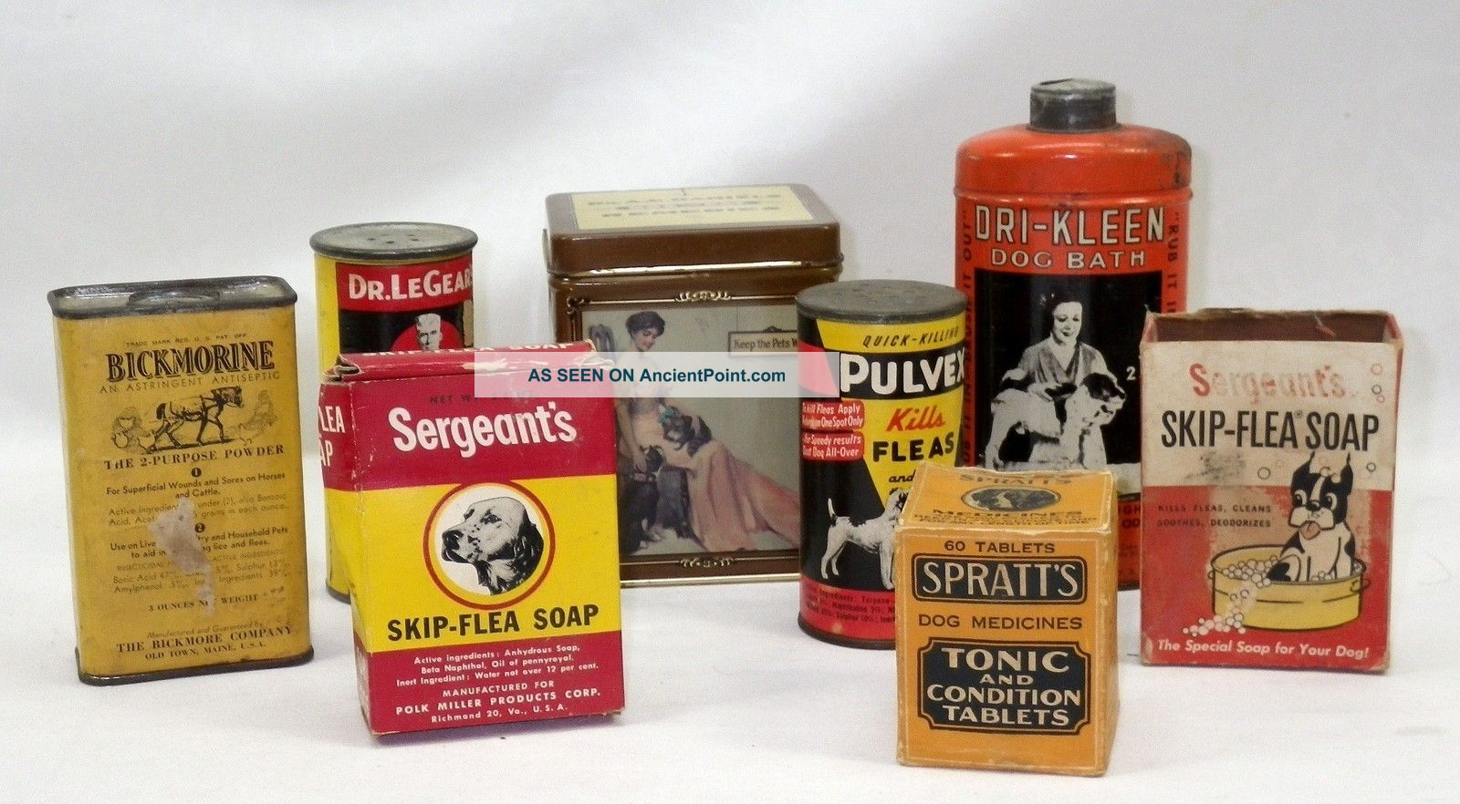 8 Antique Tin Cans & Boxes Of Early Dog Cat Horse Bath Powders & Soaps Must See Other photo