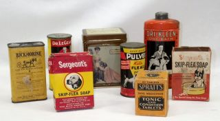 8 Antique Tin Cans & Boxes Of Early Dog Cat Horse Bath Powders & Soaps Must See photo