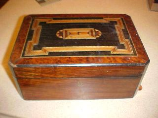 Antique Victorian 1800 ' S Sewing Box Inlaid Inlay Wood Lace Jewelry photo