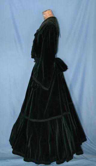 Green Velvet Antique 1800 ' S Victorian Bustle Dress Lg Art Nouveau Enamel Buttons photo