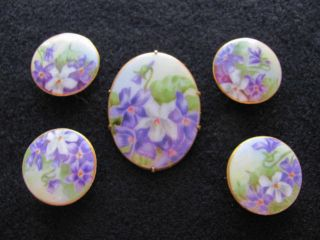 Vintage Antique Stud Button Matching Brooch Hand Painted Porcelain Violet Flower photo