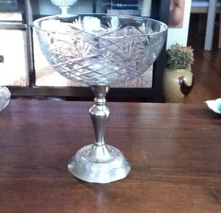 Antique Brushed Chrome Raised Etched Glass Bowl - 10