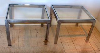 Pair Chrome Brass Glass End Side Tables In The Style Of Willy Rizzo Glam Regency photo