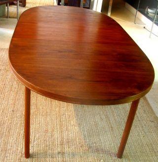 Danish Modern Swedish Teak Oval Extension Dining Table Seats 10 photo