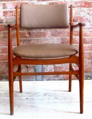Danish Modern Teak Oak Leather Armchair Torben Strandgaard Wegner Eames Era photo