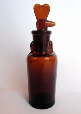 Antique German Medical Drop Opium Anaesthesia Amber Glass Bottle Tk 20ml Size 2 photo