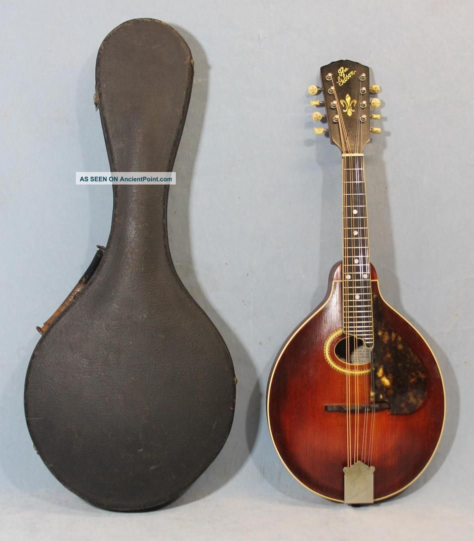 C1910 Antique Gibson A4 8 - String Mandolin W/ Handel Mop Inlaid Tuners String photo