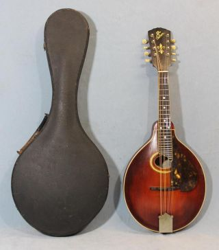 C1910 Antique Gibson A4 8 - String Mandolin W/ Handel Mop Inlaid Tuners photo