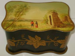 Old French Toleware Hand Painted Picture Grape Leaves Tole Box Made In France photo