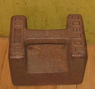 Vintage Old Toledo 50 Lb Cast Iron Grip Weight Avoirdupois Scale Calibration photo