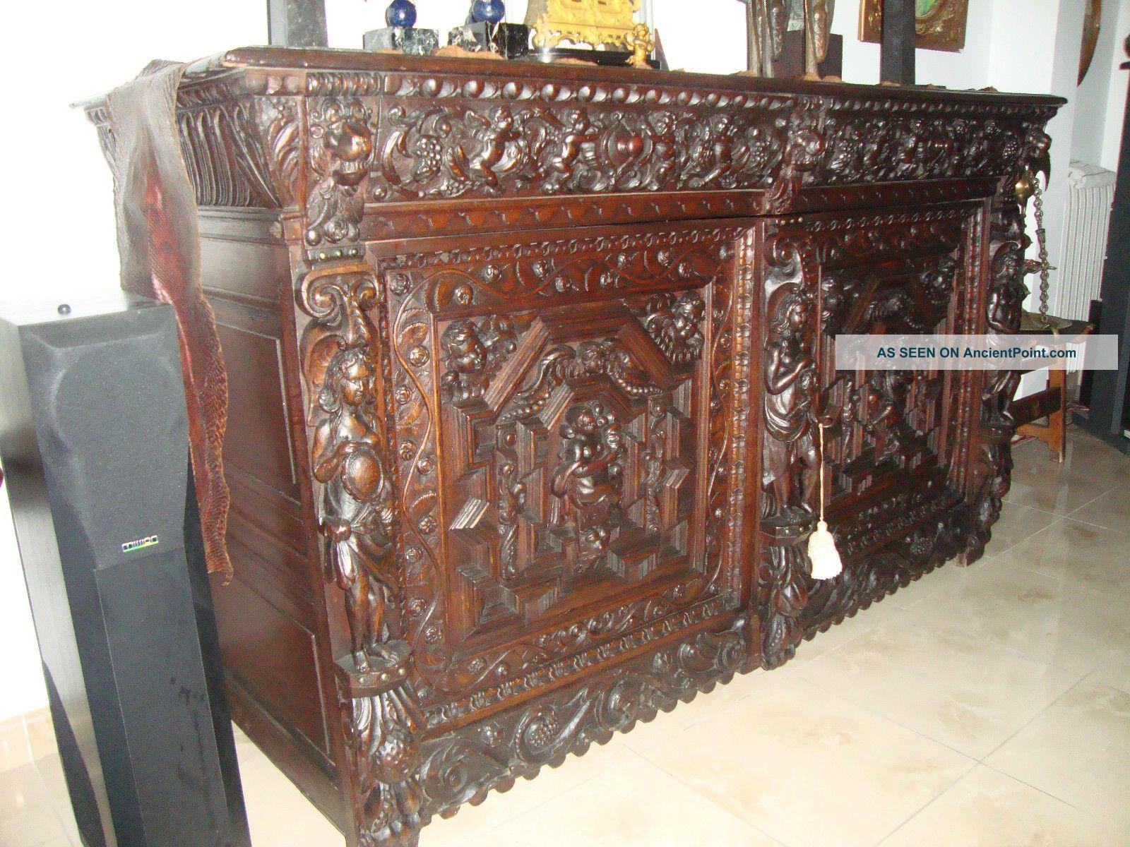 Fabulous 17th Century Flemish Oak Carved Buffet Cupboard Pre-1800 photo