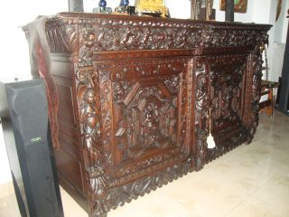 Fabulous 17th Century Flemish Oak Carved Buffet Cupboard photo