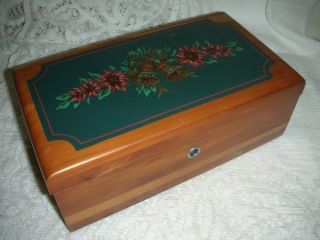 1995 Lane Miniature Cedar Keepsake Chest Christmas Bells Poinsettias photo