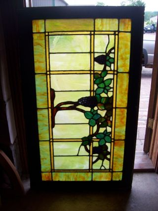 Stained Glass Grape Vine Window Painted Grapes (sg 1278) photo