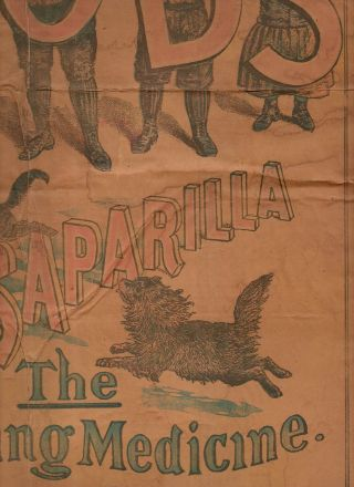 C1890 Antique Poster Hood ' S Sarsaparilla Patent Medicine Advertisement photo