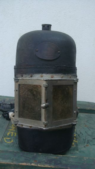 Siebe Gorman Firemen Rescue Smoke Helmet Pre Ww1 - In The Wooden Crate. photo
