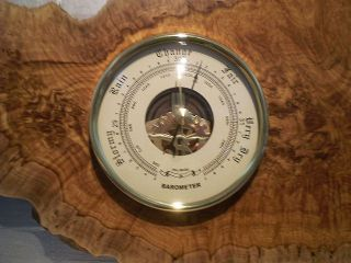 Australian Brown Mallee Burl Wall Weather Station (barometer / Thermometer) photo