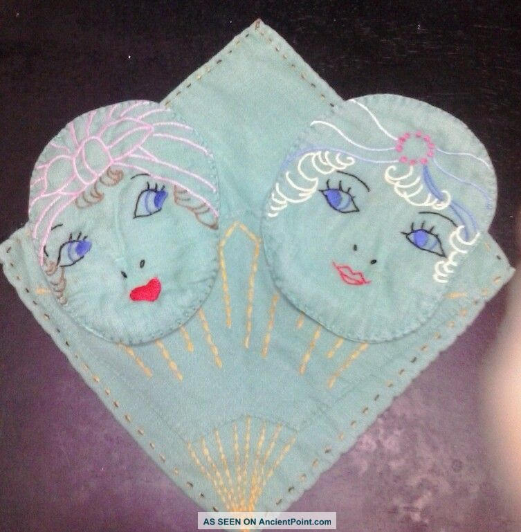 Vintage Linen Embroidered Flapper Girl Face Decor Towel Wall Hanging Trivets photo