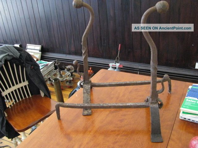 Large Antique Andirons Hearth Ware photo