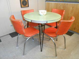 1950 ' S Orange Vinyl Diner Chair Set Of Four Retro Mid - Century Modern photo