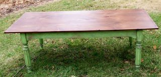Antique Salvage Made Farm Table Pine Top Painted Base 83