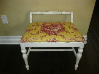 Vintage Shabby Cottage Chic Bench French Provincial Yellow Toilefabric photo