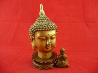 Chinese Old Copper Buddha Head Statue 680 photo