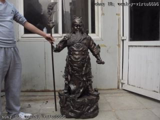 50 Folk Temple Copper Bronze Nine Dragon Guan Gong Guan Yu Warrior God Statue photo