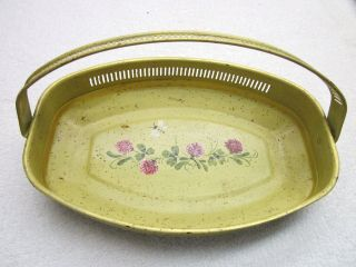 Antique Shabby Tole Tray Flower Basket Tin Handle Romantic Hand Painted Vintage photo