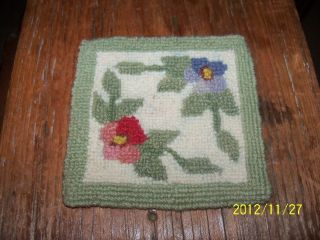 Sweet Hand Made Tiny Hooked Wool Rug For Doll House Green Cream Red Pink Blue photo