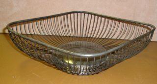 Vintage Raimond Silverplate Large Diamond Shaped Bread Basket 11.  5x 9 X 3