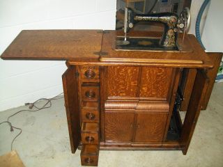 1920 Singer Sewing Machine And Parlor Cabinet,  Model 66,  Antique,  Vintage photo